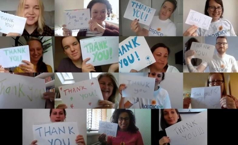 A Zoom thank you from Hospice UK staff