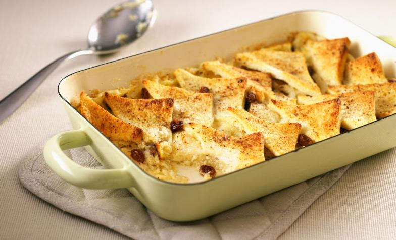 A stock photo of bread and butter pudding