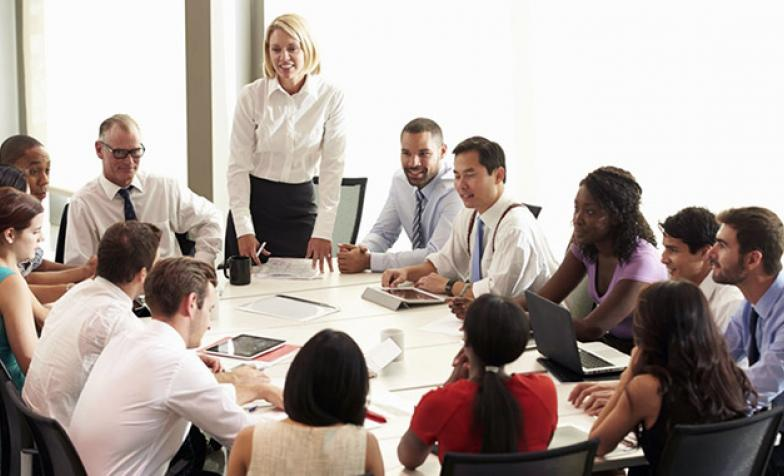 A stock photo of a governance meeting