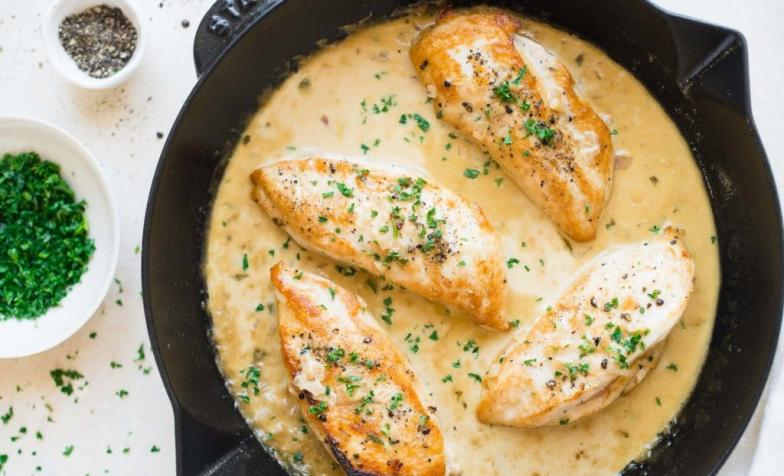 A stock photo of tarragon chicken, to illustrate a recipe for Taste of Home