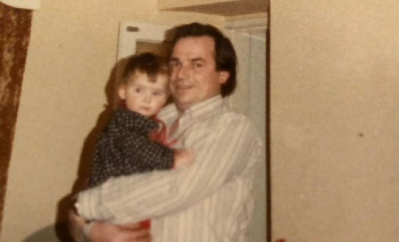 Ruth as a baby with her father - old photo