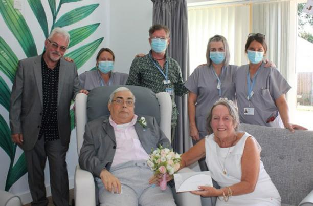 Chas and Shirley on their wedding day at Fair Havens Hospice