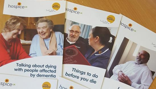Photo of leaflets used by Dying Matters