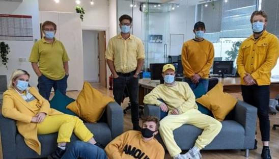 The team at Raffolux going yellow for Hospice Care Week