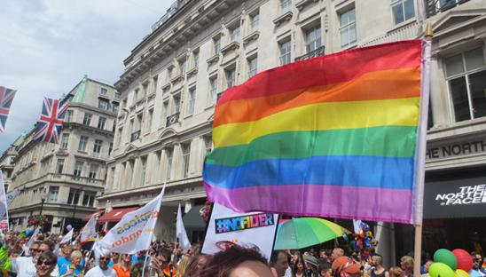 The rainbow flag at Pride London in 2017