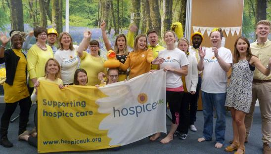 Staff at Hospice UK during a Go Yellow day to raise money for the charity