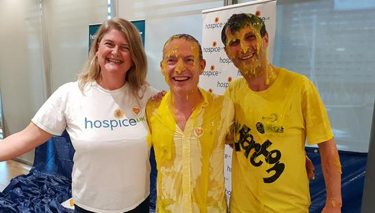 Staff from Mazars turned themselves yellow to support Hospice UK in 2018