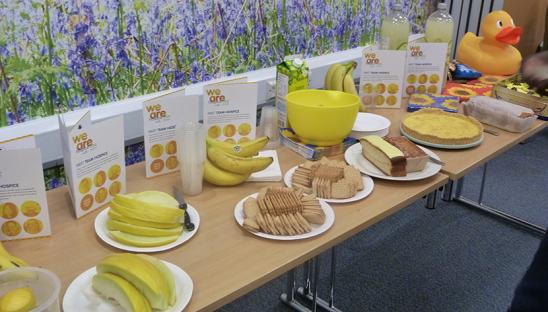 Food laid out at a go yellow party