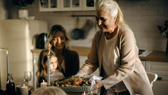 A stock photo of a family meal, to promote our Taste of Home campaign